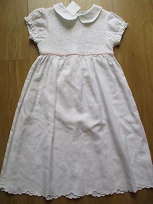 The Little White Company Bnwt Pretty White Smocked Linen & Cotton Dress Age 7 -8