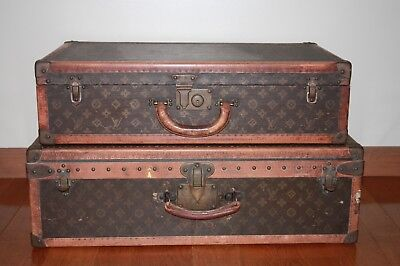 Antique Vintage Louis VUITTON Alzer Steamer Trunk Luggage Suitcase SET