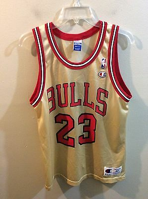 c87c2eb74 Michael Jordan Champion Jersey 40 Vintage NBA Chicago Bulls Gold Logo 50th  USA