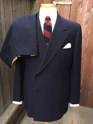 Vintage 1930's Navy Blue 3-Piece Double-Breasted Suit by Tabin-Pearlman!