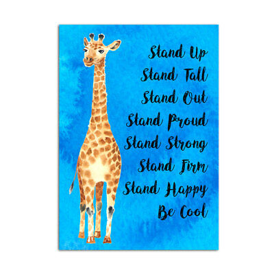 Funny Motivational Poster A3 Inspirational Cool Giraffe Design For Girls & Women
