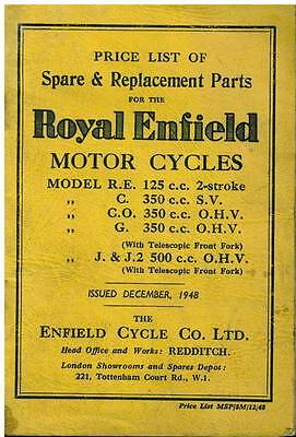 Royal Enfield Motorcycles Spare Parts Price List - 1948 **original**