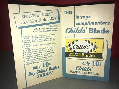 Complimentary CHILDS Razor Edge Blade On Card Vintage Advertising Free Promotion