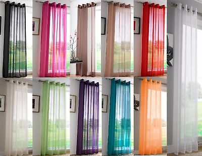 Voile Curtain Panel Ready Made Eyelet Ring Top Voile Panels Plain Net Curtains