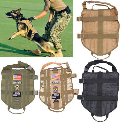 Tactical Military K9 MOLLE Service Dog Harness Police German Shepherd Vest XS-XL