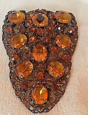 Antique Coat Dress Clip Amber Glass Stones and Brass Filigree Metal Large 3""