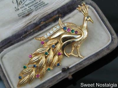 Vintage Polished Gold Plated White/green/pink/blue Diamante Peacock Bird Brooch