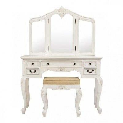 Rococo French Cream Dressing Table Set 3Pcs - French Furniture - French Bedroom