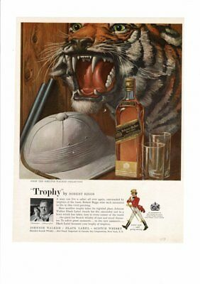 Vintage 1959 Johnnie Walker Black Label Scotch Whisky Tiger Gun Barrel Ad Print