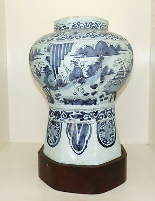 Antique Asian Chinese Blue White Celadon Jar Vessel Pot Vase On Wood Stand