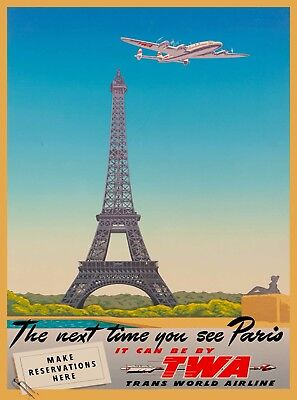 Paris Eiffel Tower TWA  France Vintage Airline Travel Advertisement Poster