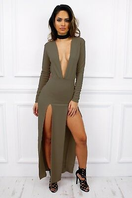 UK New Maxi Slit Plunge Low V Long Sleeve Bodycon Dress Glamzam Party Club Sexy