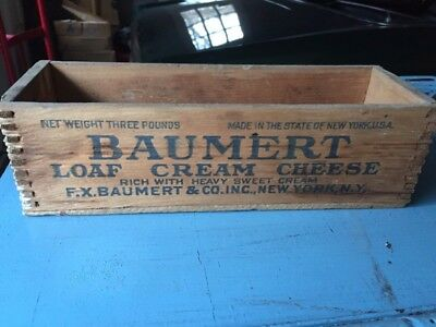 Vintage Baumert Cream Cheese Wooden Dove Tail  Boxes