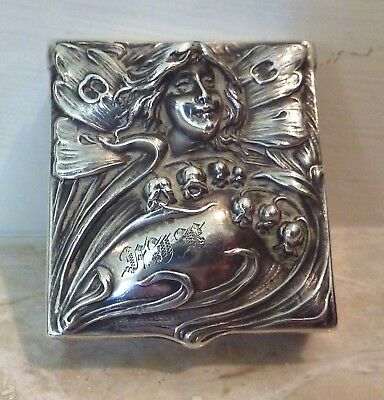 Sterling Silver Art Nouveau Pill Box Lady Fairy Repousse Victorian Whiting