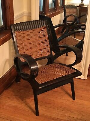 Art Deco British Colonial Caned Mahogany Chairs Pair