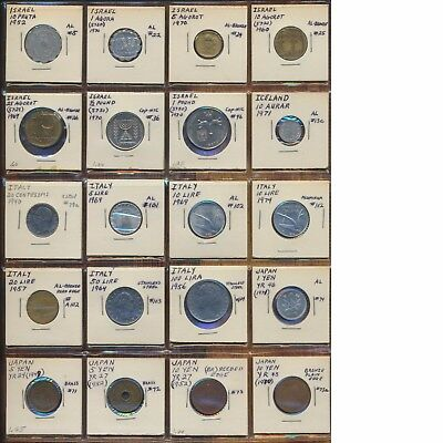Foreign Coin 20 Pack Page Lot Mixed Israel Iceland Italy Japan Random Coin Lot