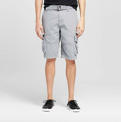 107c494674 New MOSSIMO Mens Light Gray Mid Rise 100% Cotton Belted Cargo Shorts Size 28