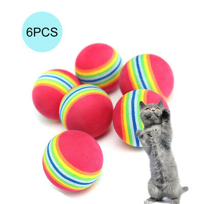 6pcs Pet Cat Kitten Soft Foam Rainbow Play Balls Activity Toys Colorful
