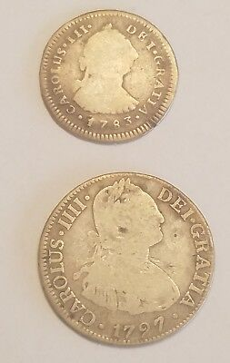 1787 & 1783 Spain Silver Coin 1 Real & 2 Real lot (2) Carolus