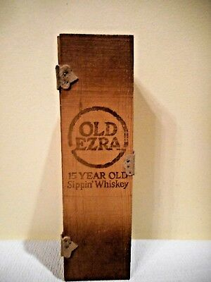 "Vintage Old Ezra Brooks 15 Yr Old ""Sippin' Whiskey"" Wooden Box Leather Trim 1976"