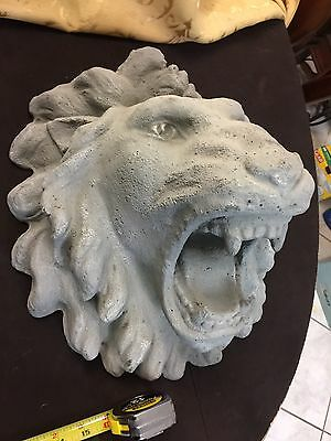 Large Pair Of Roaring  Lions Heads Stone Concrete Statue Look Light Easy Mount