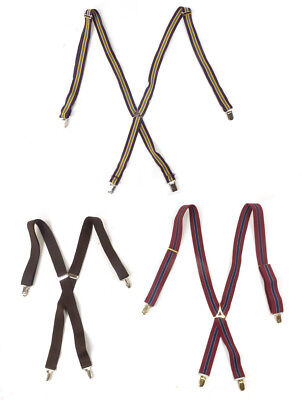 #44 Lot of 3 Vintage Men's Style Mixed Brand Purple, Red, Brown Suspsenders