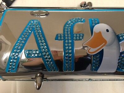 Authentic Little Earth Aflac SWAROVSKI CRYSTAL Metal Cylinder Purse Tote