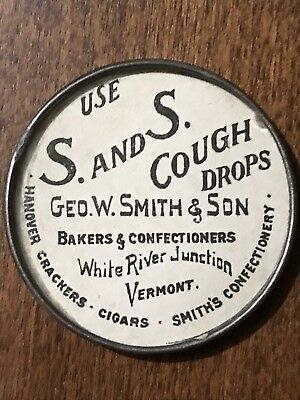 Antique Advertising Pocket Mirror For Cough Drops
