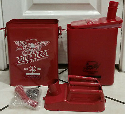 NEW Sailor Jerry Spiced Rum, Red Metal Gas Can Drink Decanter. Christmas Gift!