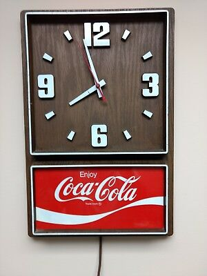 """Vintage Coca-Cola Electric Wall Clock, 18"""" Tall X 11.5' Wide, It Works, Too"""