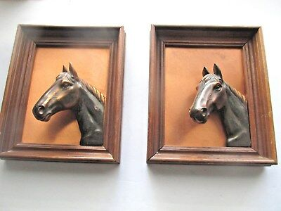 Vintage Copper Horse Head Pictures Framed High Relief  6 1/2 x 8 In.