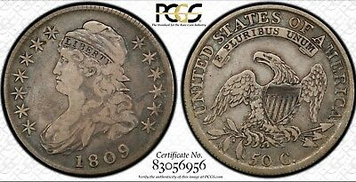 Rare 1809 Capped Bust Half Dollar PCGS Secure  VF20