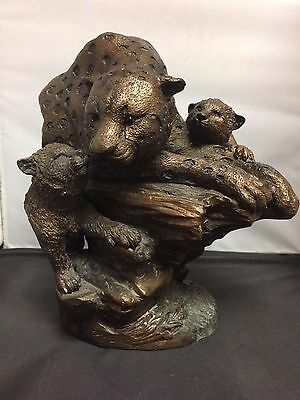 Brass Leopard Statue - Bronze Color - Signed