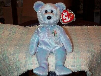 """Chicago TY beanie baby babies bear Issy 3-1-2001 Blue retired mint tags Tree 8"""""""