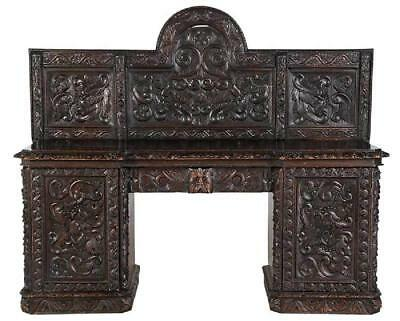 Monumental Carved Oak and Walnut Sideboard, 19th century ( 1800s )