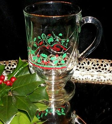 LIBBEY Arby's Green Holly Red Berry, Irish Coffee,Glass Mug Gold Trim,Christmas