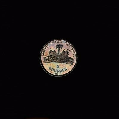 1967 Haiti 5 Gourdes Silver Proof Coin Low Mintage