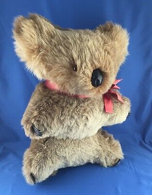 "VERY NICE Koala Teddy Bear Plush Stuffed Animal 13"" Real Fur Vintage Australia"