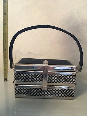 Pre-Owned Silver Toned Art Deco Metal Expandable Purse, Jewelry Box, Display