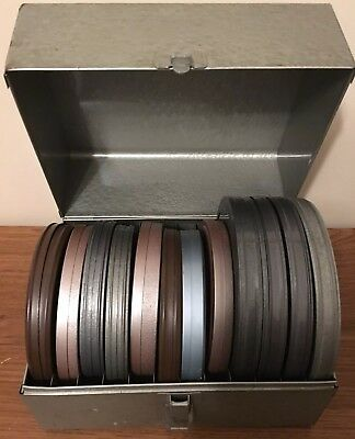 "Lot 10 Vintage 8 mm Home Movies 5"" and 5 3'4"" Reels Vacations France Metal Case"