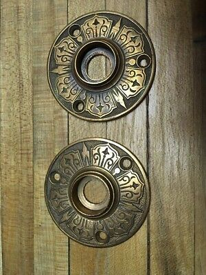 Vintage Antique Brass Door Flange Pair