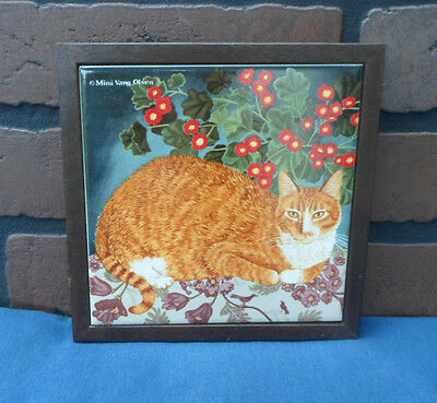 Collectible Yellow Cat Tile Trivet Purrfect Friends Marmalade Avon Framed