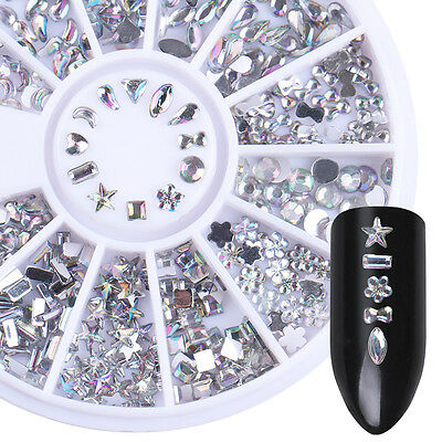 Holographic Rhinestones Star Heart Flower Triangle Mixed DIY 3D Nail Decoration
