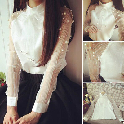 Women Ladies Casual Bow Pearl Long Sleeve Organza Blouse Chiffon Tops Shirts Top