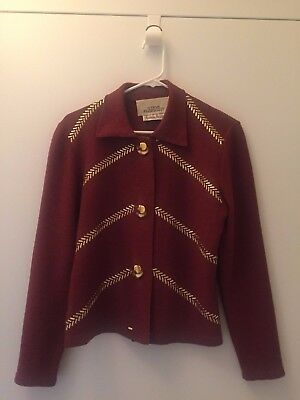 EUC Vintage Steve Fabrikant Neiman Marcus Burgundy/Brown Sweater w/Gold Buttons