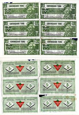 CANADIAN TIRE MONEY, 12 COUPONS, 8x 5 cents, 4x 25 cents, circulated, 1996-2016