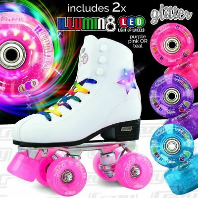 Crazy DISCO Quad Roller Skates with 2 Super Bright LED Glitter Wheels COMBO !!!