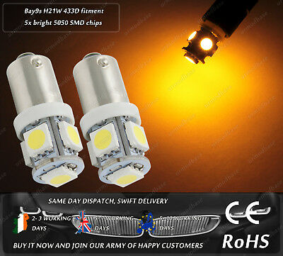 LED 433D H21W BAY9S Yellow Side Repeater Turn Signal Indicator Light Bulbs 12v