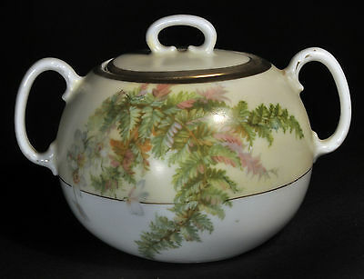 Antique Prussia Sugar Bowl w/ Ferns & Flowers, Gold Trim