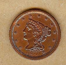 1857 Braided Hair Half Cent!! Vf!!  Nice Looking Coin